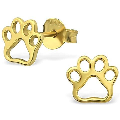EYS JEWELRY® Damen-Ohrringe Hunde-Pfoten Tatzen 6 x 7 mm blank 925 Sterling Silber vergoldet gold-farben im Schmuck-Etui Ohrstecker Stecker