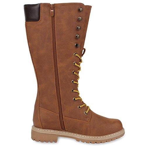 Damen Stiefel Worker Boots Profilsohle Schnürstiefel Braun