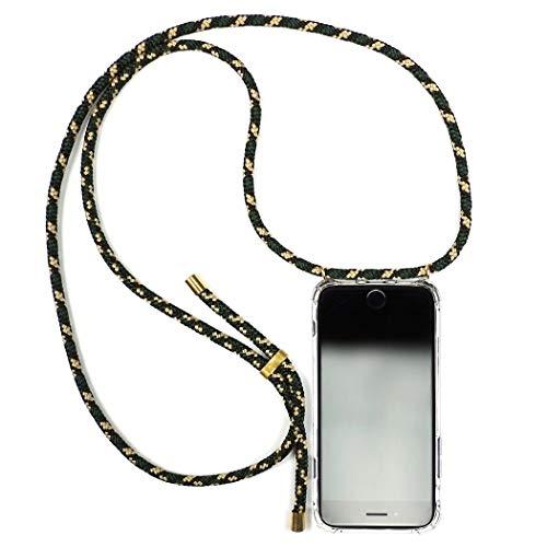 KNOK case Handykette Kompatibel mitiPhone X/XS- Handy Hülle mit Kordel zum Umhängen - Phone Necklace in Camo Green -