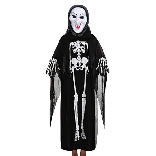 GOKOMO Männer und Frauen, Skelett Ghost Kleidung Mantel + Horror-Maske + Handschuhe drei Stück Halloween Cosplay Set Eltern-Kind-Kostüme schwarz E