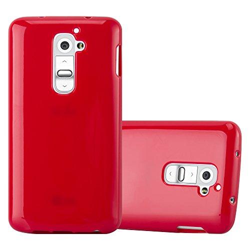 Preisvergleich Produktbild Cadorabo Hülle für LG G2 - Hülle in Jelly ROT – Handyhülle aus TPU Silikon im Jelly Design - Silikonhülle Schutzhülle Ultra Slim Soft Back Cover Case Bumper