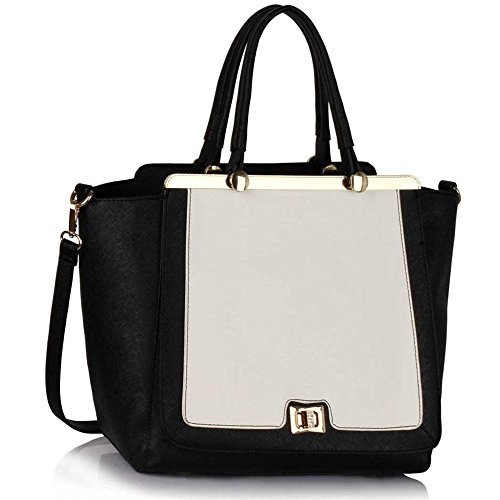 für Leinentrage Tasche Frauen Damen Arbeiten Umhängetasche Ergreifen Sie Tote Handtaschen Heiße Verkauf Trendstar Taschen Faux Leder-Tasche (C - Schwarz/Weiß) (Patent Leder-umhängetasche Schwarz)