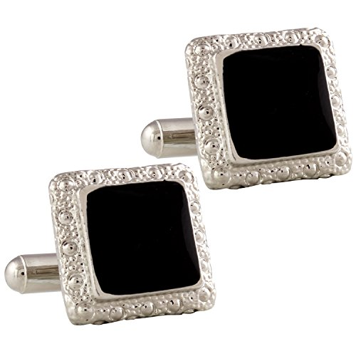 Tripin Black Silver Square Shaped Cufflinks In Red Colour