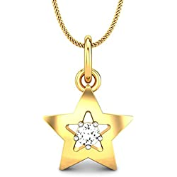 Candere by Kalyan Jewellers 18KT Yellow Gold and Diamond Pendant for Girls