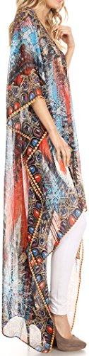Sakkas Zeke hoch niedrig Strass V-Ausschnitt Kaftan Kleid Boxy gedruckt Top vertuschen Blau Rot
