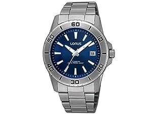 Lorus - RXH17JX9 - Sport - Montre Homme - Quartz Analogique - Cadran Bleu - Bracelet Titane Gris