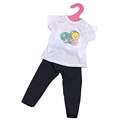 MagiDeal Trendy Casual Short Sleeve T-shirt + Jeans Pants Outfit Fit for 18'' American Girl Dolls Journey Doll Clothing Dress Up