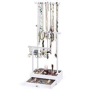 Love-KANKEI Schmuckständer mit Schublade Schmuckhalter Weiß Höhenverstellbare Stäbe, Schmuck Aufbewahrung von Ketten…