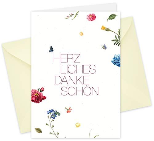 20 Karten & 20 Umschläge: Klappkarten Dankeskarten - Blüten - DIN A6 im Set, Danke sagen mit Danksagungskarten nach Hochzeit, Geburt, Baby, Taufe, Geburtstag, Konfirmation, Kommunion, Jubiläum