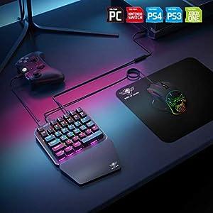 Spirit Of Gamer – Xpert G700 – Adapter Kombinierte RGB – Tastatur und Maus Set Für PS4, XBOX ONE, SWITCH, PC – Mechanische Tastatur Mit Einer Hand – Maus 7 Tasten 3200 DPI