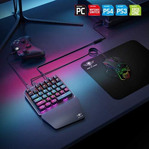 Spirit Of Gamer - Xpert G700 - Adapter Kombinierte RGB - Tastatur und Maus Set Für PS4, XBOX ONE, SWITCH, PC - Mechanische Tastatur Mit Einer Hand - Maus 7 Tasten 3200 DPI