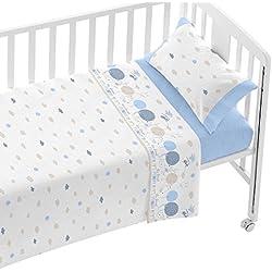 Burrito Blanco Juego de Sábanas Infantiles 005 para Cuna de 60x120 cm de Bebé Algodón 100% Diseño de Animales y Nubes, Azul