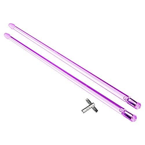 12p-k violett Tricks Drumsticks FireStix mit Trommel Schlüssel ()