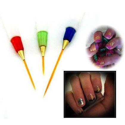 SODIAL(R) Nail Art Pinselset von 3 Profi Pinsel Nageldesign Buerste Pinsel Pinselstift Detailer...