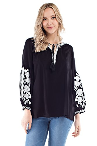Solitaire Embroidered Sleeve Blouse (X-Large, Black/White)