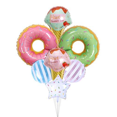 Toyvian Eiscreme Donut Aluminiumfolie Luftballons Candy Donut Form Party Ballons 7 Stück