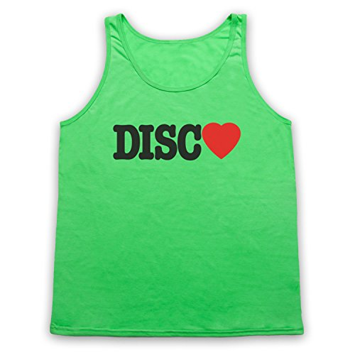 I Love Disco Slogan Tank-Top Weste Neon Grun