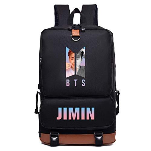 BTS Bulletproof Youth Group Backpack, Unisex Students Bags, Nylon Rucksack Cancas Bag, Sports Tote für Girl Boy Travel Rucksack schwarz,JIMIN -