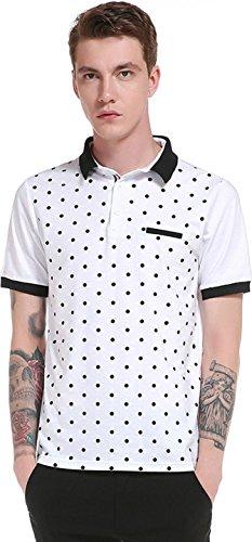 Sportides Herren Casual Dots Lapel Printing Short Sleeve Polo Shirt T_Shirt Tops JZA074 JZA074_White