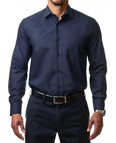 Alessandro Tonelli Herren Klassik Hemd Business Bügelleicht Freizeit Hochzeit Feier Basic Regular Fit Shirt U03-063, Farbe:Navy, Größe:46 / 2XL