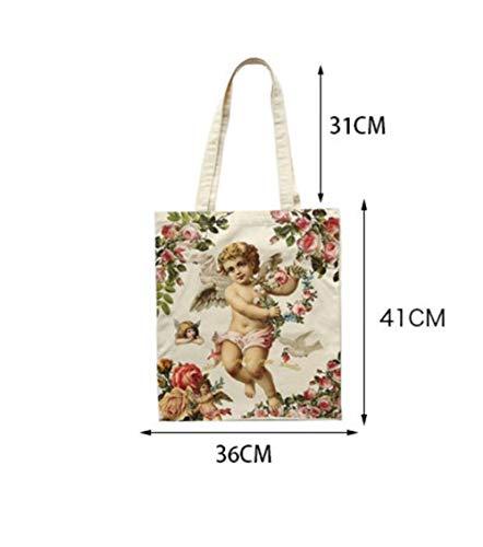 Sun Glower Zurück zu Schullektion Tragetaschen Weibliche Leinwand Engel Umhängetasche hohe Kapazität Licht Datei Shopping Reise Handtasche (Beige) (Hohe Kapazität Licht)