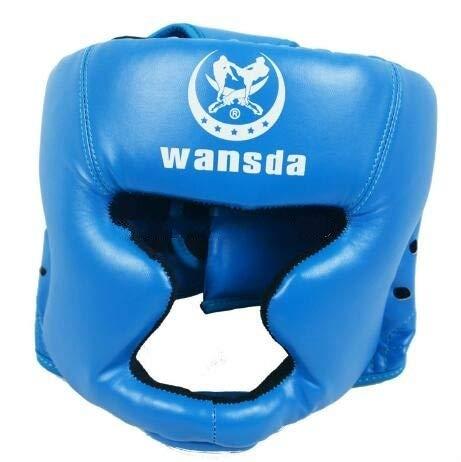 JIXIAO Moda WANSDA WSD001 Ajustable Adulto Lucha Equipo de Protección Formación Casco Boxeo Rojo...