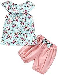 YWLINK Conjunto Verano Infantil Bebé NiñA Mezcla De AlgodóN Camisetas Sin Mangas con Estampado Floral + Pantalones Cortos De Arco SóLido Conjuntos Conjuntos Azul Encantadora Y Fresca 3 Meses - 3 AñOs