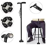 Cartshopper Trusty Cane Sturdy Folding Cane With Gripped Handle/Walking Stick With Built- In Lights & Pivots For...