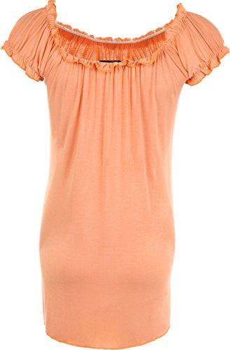 WearAll - Tunique extensible à manches courtes - Hauts - Femmes - Grandes tailles 40 à 58 Pêche