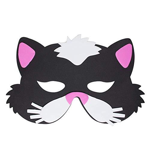Werbewas 1x Schaumstoff Masken mit Katze Klein Tiermotiv - als Karnevals, Halloween, Geburtstags-Party Kostüm (X Kleine Halloween-kostüme)