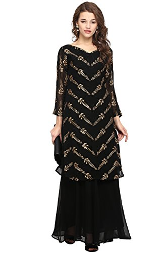 Ahalyaa Black Colored Full Sleeve And V Neck Georgette Kurti Size -...