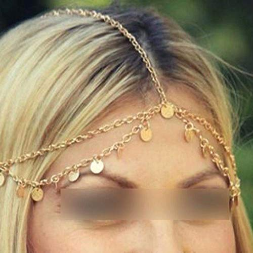 Indische Kopfschmuck Kostüm - HuntGold 1X böhmische Art Kreis Pailletten Kette Schmuck Stirn Haar Band Schließe Schmuck