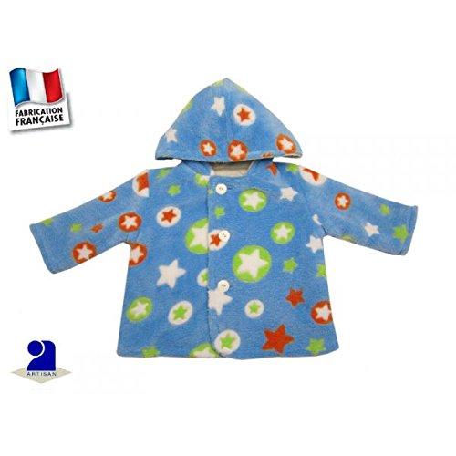 Poussin bleu - Manteau 6 mois bleu, polaire à poils longs, imprimé étoiles Taille - 67 cm 6 mois, Couleur - Multicolore