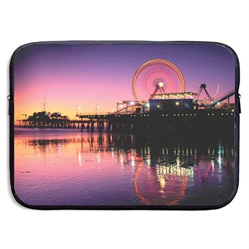 Benutzerdefinierte Laptop-Hülle 13/15 Zoll MacBook Reißverschluss Aktentasche Riesenrad-Santa-Monica Print Portable Messenger Bag, 15 Zoll - Stoff Santa Monica