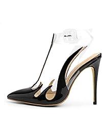 LL Da donna appuntito Punta chiusa Fine tacco alto sandali Trasparente  Cinturino alla caviglia 86a7de9a9fa