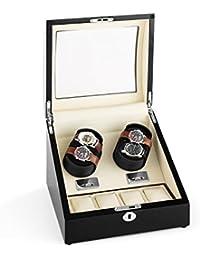 Klarstein Matterhorn Remontoir et présentoir à montres silencieux pour 4 montres automatiques (rotation horaire, antihoraire et alternance) - bois