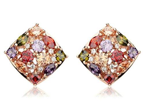 KnSam Donne Placcato in Oro Rosa Trafitto Orecchini a Perno Cluster di Arcobaleno Cristallo Strass (Cuore Rosa Orecchini)