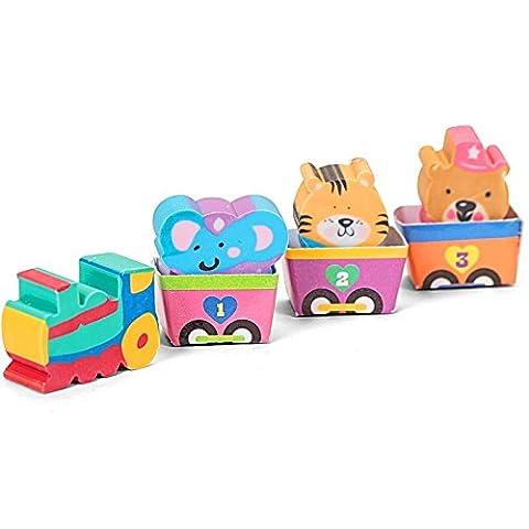 Collectable erasers fun animal erasers elephant tiger bear circus animal train set of 4