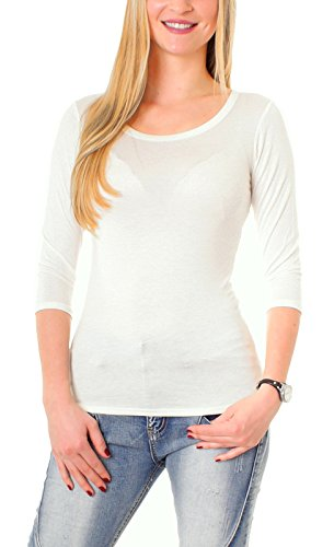 Damen Basic Halbarm T-Shirt Unterziehshirt Unterhemd Stretch Jersey Rundhalsshirt Rundhals 3/4 Arm Eng Uni Einfarbig Elfenbein M/38