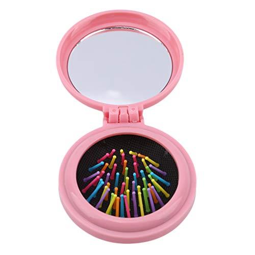 LWANFEI Mini Round Folding Hair Comb Haarbürste mit Spiegel tragbare kompakte Reise Haarbürste für Frauen Geschenk, Rosa - Spiegel Mini-haarbürste Und