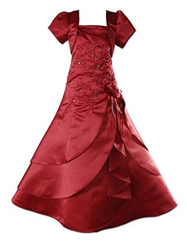 Cinda Mädchen Brautjungfer / Heilige Kommunion Kleid Burgund 134-140 -