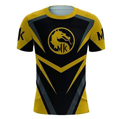 Mortal Kombat Spiel Cosplay T-Shirt Hoodie Sweatshirt Kostüm Halloween Cosplay T-Shirt Reißverschluss/Pullover Jacke (XL, Gelb 1)