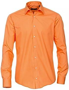 Venti Hemd Orange Uni 69er Extralanger Arm Slim Fit Tailliert Kentkragen 100% Feinste Baumwolle Bügelfrei