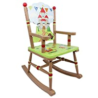 Fantasy Fields - Knights & Dragon themed Kids Wooden Rocking Chair | Hand Crafted & Hand Painted Details | Child Friendly Water-based Paint