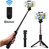 LUXSURE Bluetooth Selfie Stick with Tripod Extendable Wireless Monopod Holder with Remote Control for iPhone X/8/8 plus/7/6/Samsung and Universal Smartphones (Bluetooth Black)