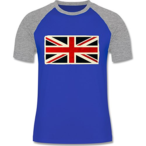 Shirtracer Länder - Flagge Großbritannien - Herren Baseball Shirt Royalblau/Grau  meliert