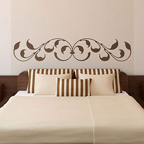 WWYJN Bed Headboard Wall Sticker Montreal. Classic Ornamental Design with Leaves and Baroque-Inspired Finishes BedHead Wall Deco  216X42cm - Gucci Messen