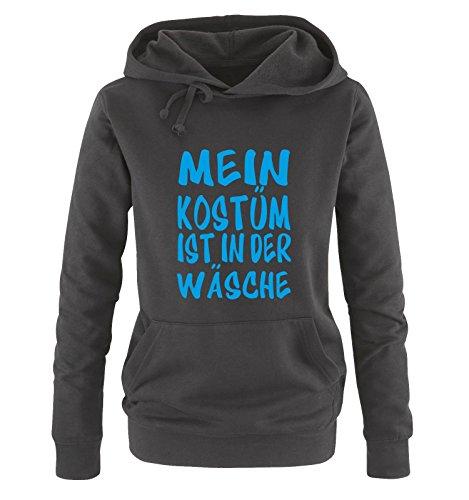 Comedy Shirts - MEIN KOSTÜM IST IN DER WÄSCHE - Damen Hoodie Schwarz / Blau Gr. (Bonnie Hund Kostüme Und Clyde)
