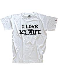 Shirtzshop Herren T-shirt I Love it when My Wife let me go fishing angeln angler
