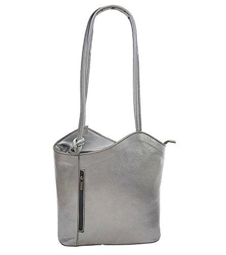 1 Silber-handtasche (2 in 1 Handtasche Rucksack Designer Luxus Henkeltasche aus Echtleder in versch. Designs (Silber Metallic))